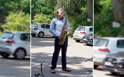 Music from Michael outside Abbotsleigh Care Home