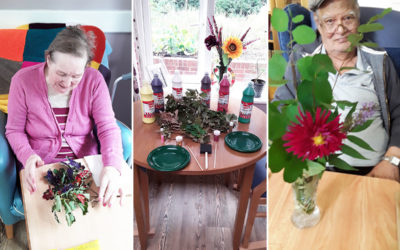 Residents leaf painting and flower arranging at Abbotsleigh Care Home