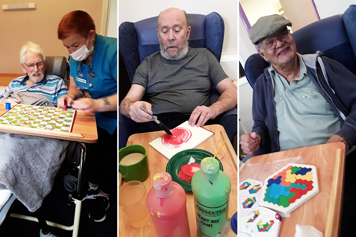 Puzzles and painting at Abbotsleigh Care Home