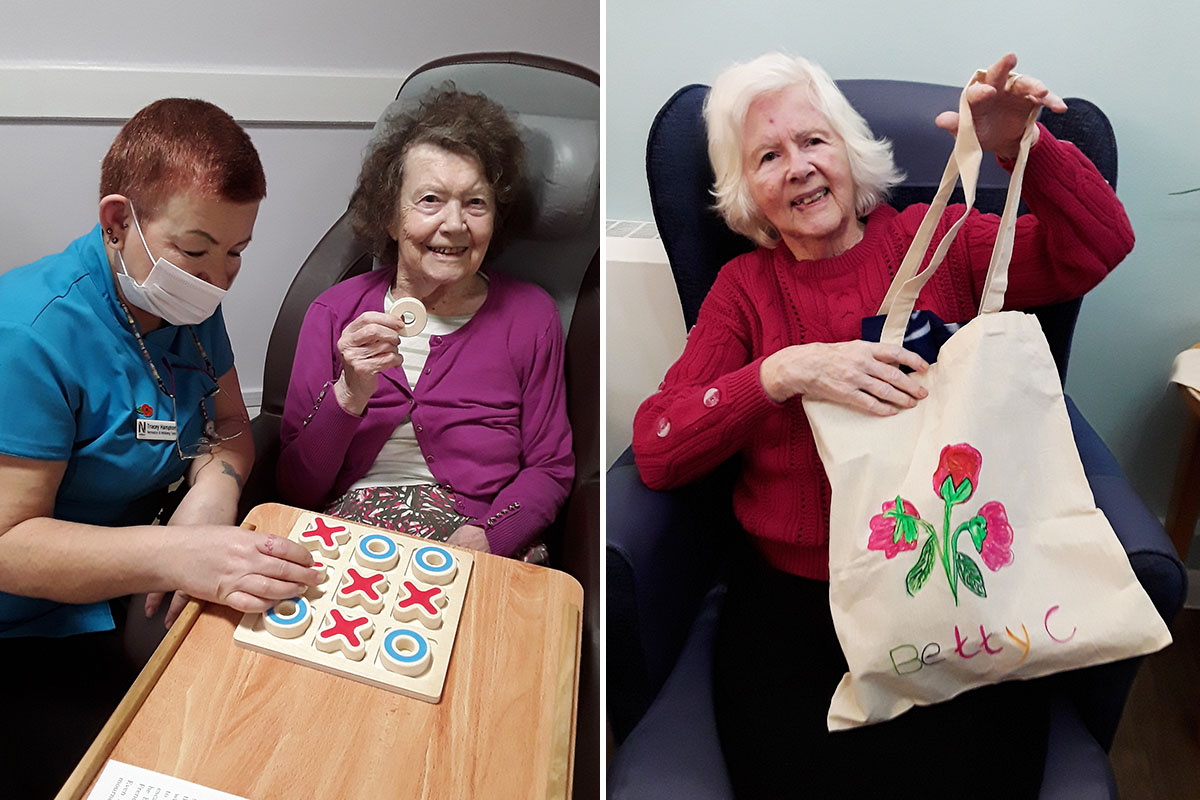 Enjoying crafts and board games at Abbotsleigh Care Home