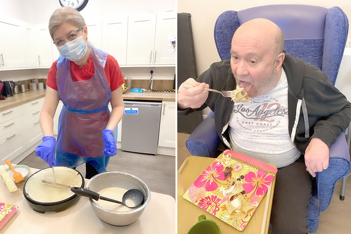 Alina makes delicious pancakes at Abbotsleigh Care Home